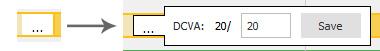 Eingabefeld für die Refraktion (DCVA) beim Belin ABCD Progression Display